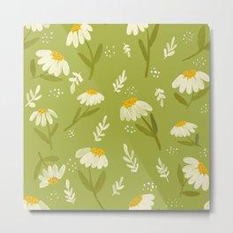Pretty little daisies on green  Metal Print