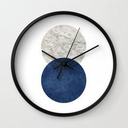 Marble blue navy circle Wall Clock