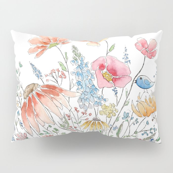 wild flower bouquet and blue bird- ink and watercolor 2 Pillow Sham