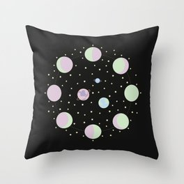 And You? - Moon Phases Illustration Throw Pillow