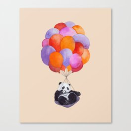Panda flying with balloons Canvas Print