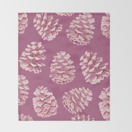 Blushing Deep Pine Cones Throw Blanket