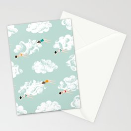 Girls High in the Sky - Eau de Nil Stationery Cards