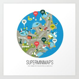 Sydney Swimming Spots Minimap by Alejandro Castillo Art Print
