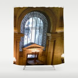Menorah lit at the New York Public Library, New York City, New York Shower Curtain