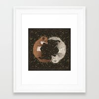 foxes Framed Art Prints featuring Foxes by Jessica Roux