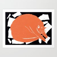 my mad fat diary Art Prints featuring Fat Cat by The Printed Peanut