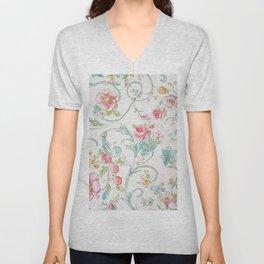 Vintage pink teal watercolor bohemian floral pattern Unisex V-Neck