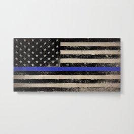 Thin Blue Line Police Flag First Responder USA Hero Metal Print