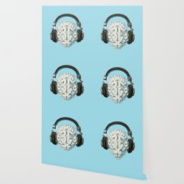 Mind Music Connection /3D render of human brain wearing headphones Wallpaper