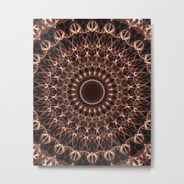 Brown and copper mandala Metal Print