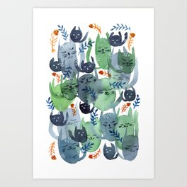 A Quiet Cacophony of Cats Art Print