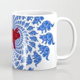 Dinosaur Fractal Print in Blue and Red Coffee Mug