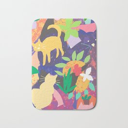 Cats and Plants with Abstract Background Bath Mat