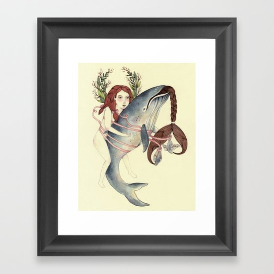 Ribbons Whale Framed Art Print
