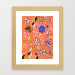 Orange Flower Pattern Framed Art Print