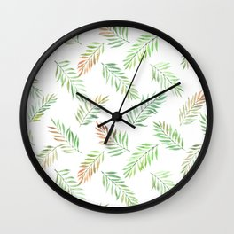 floral seamless pattern with feathered leaves Wall Clock