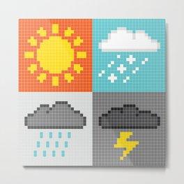 Pixel Weather Icons Metal Print