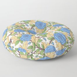 Blue Roses and Crystals Pattern Floor Pillow