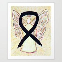 Black Awareness Ribbon Angel Art Painting Art Print