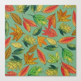 Fall Foliage Leaf Pattern Canvas Print