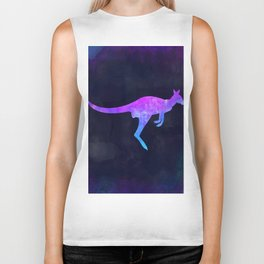 WALLABY IN SPACE // Animal Graphic Art // Watercolor Canvas Painting // Modern Minimal Cute Biker Tank