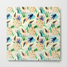 Pattern of tropical fruit and plants I Metal Print
