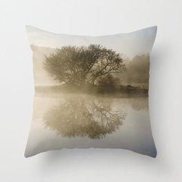 Misty Sunrise Landscape Throw Pillow