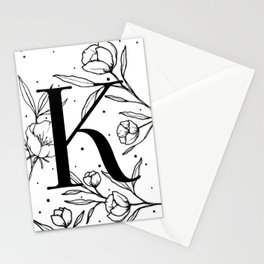 Black Letter K Monogram / Initial Botanical Illustration Stationery Cards