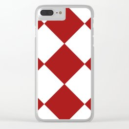 Red and White Argyle Clear iPhone Case