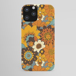 70s Retro Flower Power 60s floral Pattern Orange yellow Blue iPhone Case