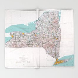 Map of the State of New York (1976) Throw Blanket