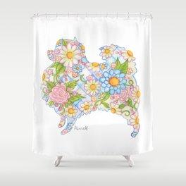 Pretty Blue Pomeranian Shower Curtain