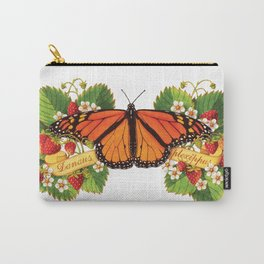 Monarch Butterfly with Strawberries Illustration Carry-All Pouch