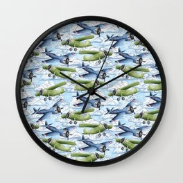 Airplanes in Blue and Green Wall Clock