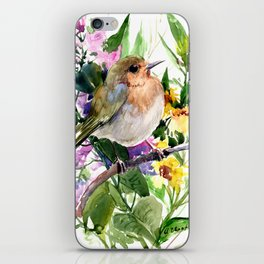 Robin and Summer Flowers iPhone Skin
