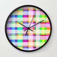 bathroom Wall Clocks featuring Bathroom Tile Rainbow by Jessica Slater Design & Illustration