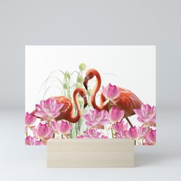 Flamingo Lotos Flower Blossoms Mini Art Print