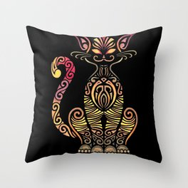 Tribal Cat on Back Throw Pillow
