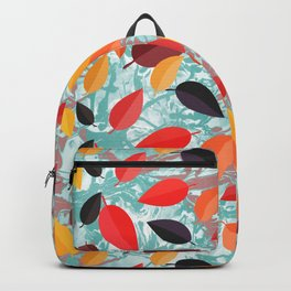 Autumn Birch Leaves on Marbled background Backpack