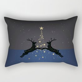 Champagne Gold Star Christmas Tree with Magical Reindeers | Dreamy Blue Rectangular Pillow