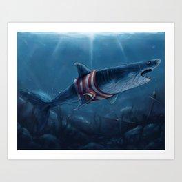 Shark in a Shirt Art Print