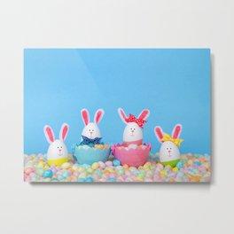 Easter Bunny Eggs Metal Print