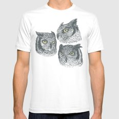 Three Owls MEDIUM Mens Fitted Tee White