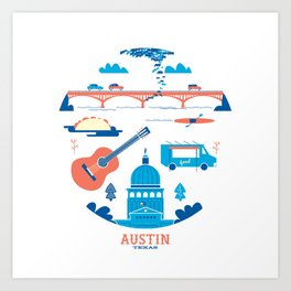 Love Letter to Austin, Texas Art Print