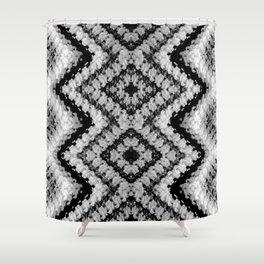 Black White Diamond Crochet Pattern Shower Curtain