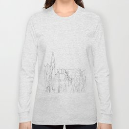 Galway, Ireland Skyline B&W - Thin Line Long Sleeve T-shirt
