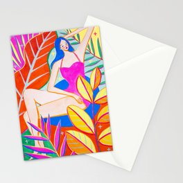 Girl and Colorful Leaves Stationery Cards