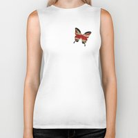 union jack Biker Tanks featuring butterfly Union and Jack by Steffi Louis