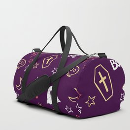 Happy halloween ghosts, moons, coffins, trees and boo pattern Duffle Bag